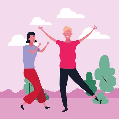 dancing couple avatar vector