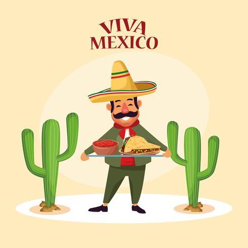 Viva mexico dibujos animados vector