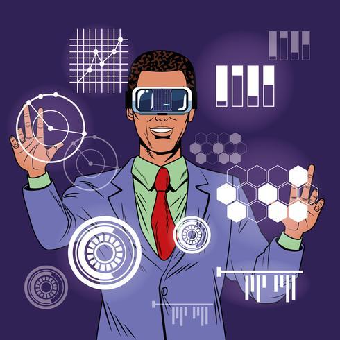 Empresario de realidad virtual de dibujos animados de arte pop vector