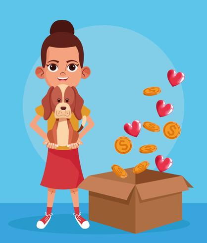 Kid donation charity cartoon vector