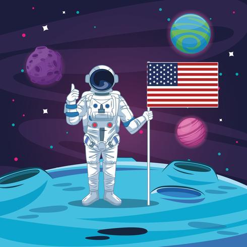 Astronauta en la caricatura de la galaxia. vector
