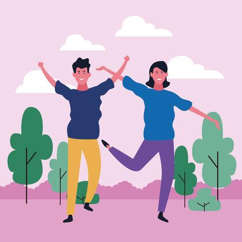 pareja bailando avatar vector