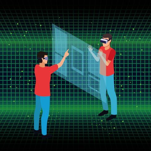 Les gens jouent avec la réalité virtuelle vecteur
