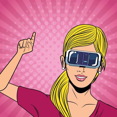 Mujer con tecnología de gafas de realidad virtual. vector