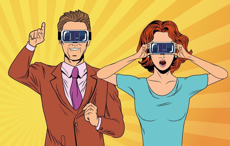 Pareja de pop art usando gafas de realidad virtual vector