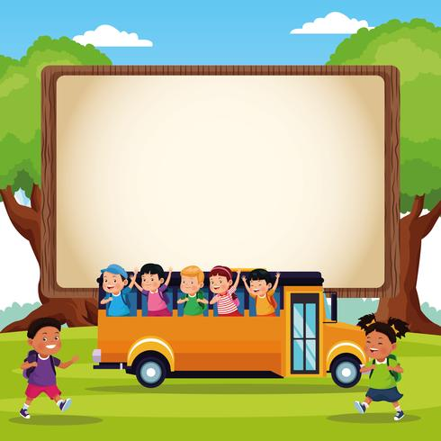 Back to school kids cartoons vector