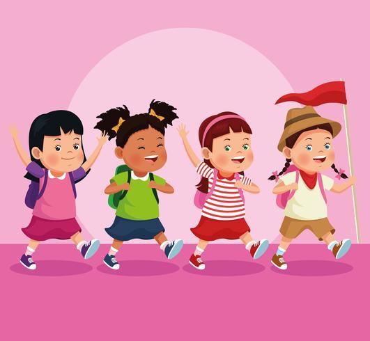 children on school field trip vector