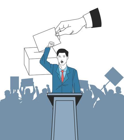 Mann macht eine Rede und Publikum Silhouette