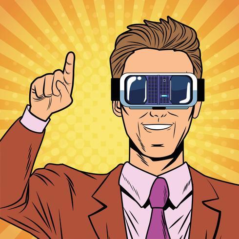 Affärsman virtuell verklighet popkonsttecknad film