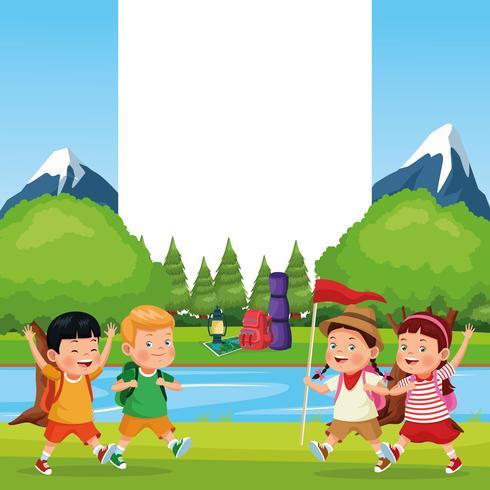 Enfants En Excursion Scolaire Telecharger Vectoriel