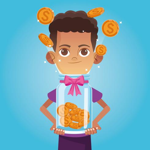 Dibujos animados de caridad donación de niños vector