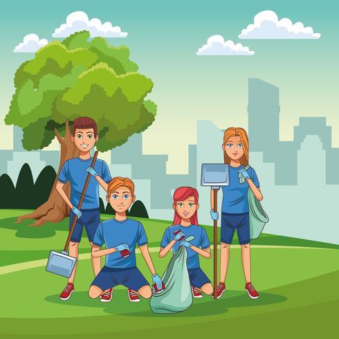 Volontari di pulizia del parco vettore