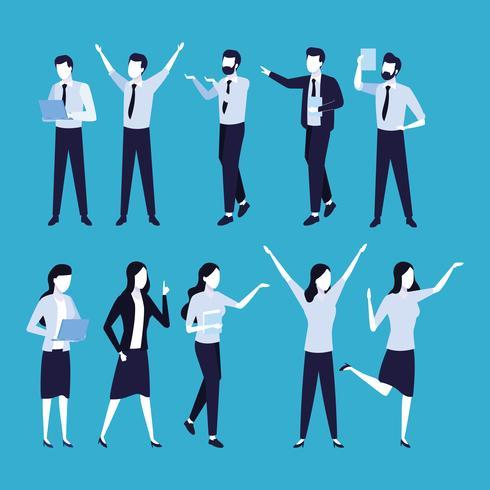 Business coworkers cartoons vector