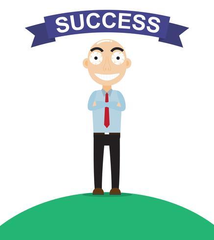 Feliz empresário parece tão orgulhoso sobre o sucesso do trabalho - ilustração vetorial
