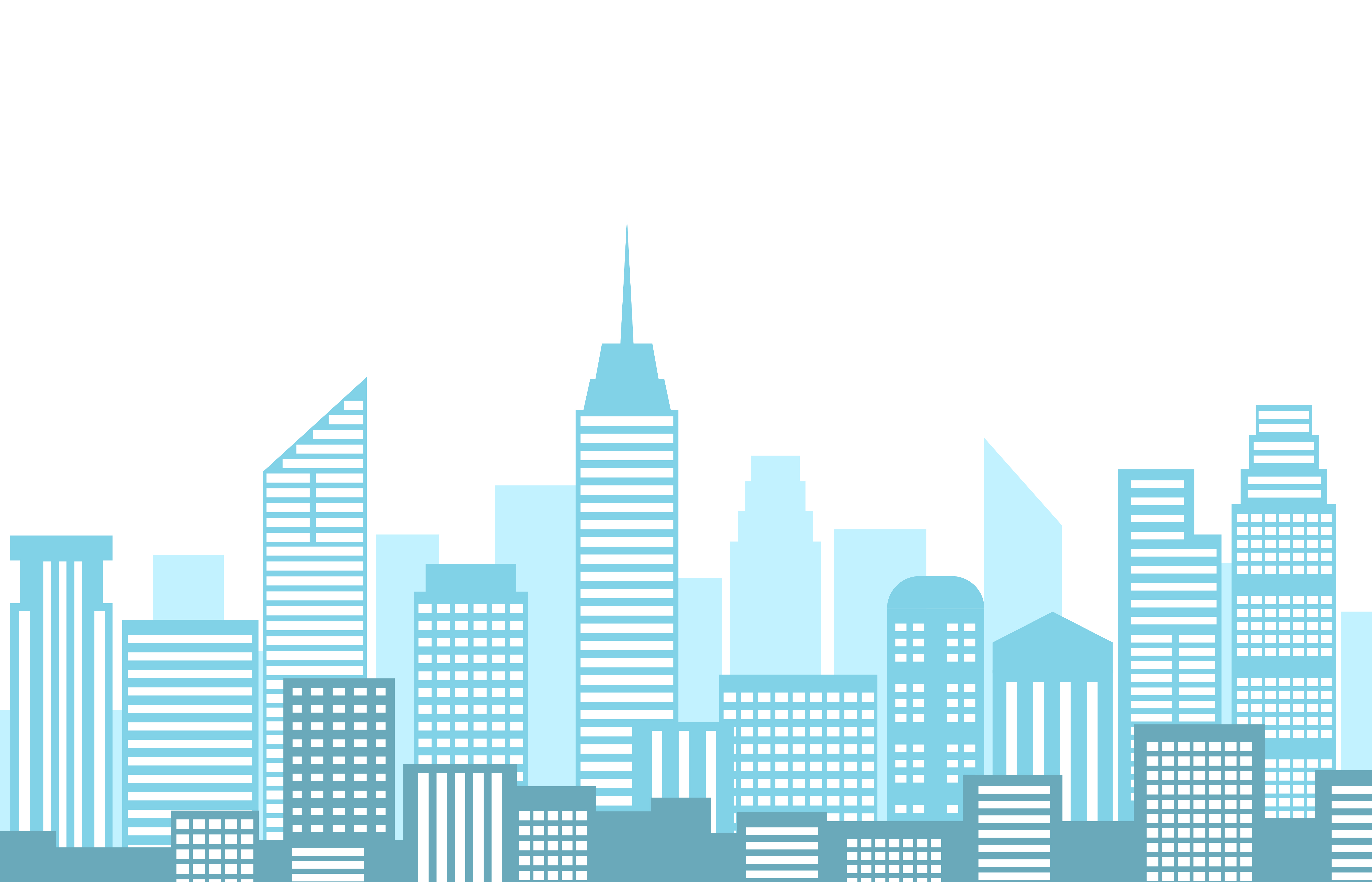 Vector illustration of urban landscape with city skyline and building isolated on white ...