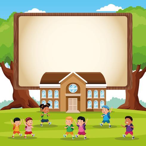 regreso a la escuela niños dibujos animados vector