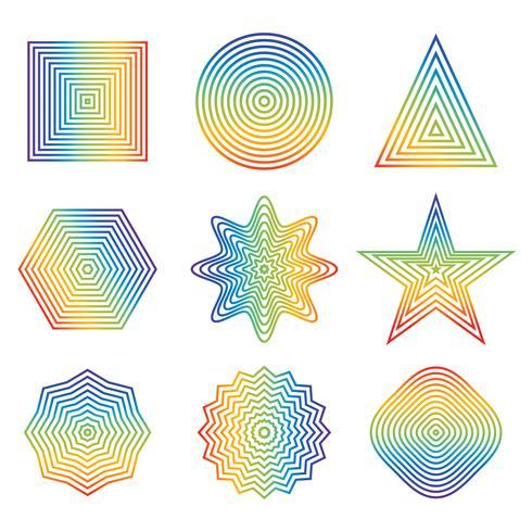 Vector Illustration der Regenbogenlinie im geometrischen Formelement, das auf weißem Hintergrund lokalisiert wird