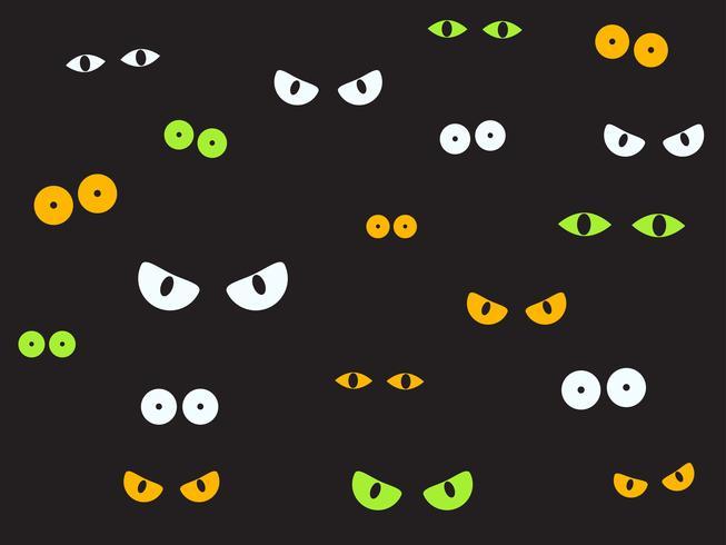 Vektorillustration kusliga ögon i den mörka bakgrunden - Halloween bakgrund