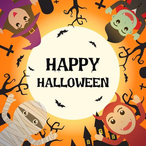 Feliz dia das bruxas com fantasia de monstro de Halloween no cemitério e o fundo de lua cheia - ilustração vetorial