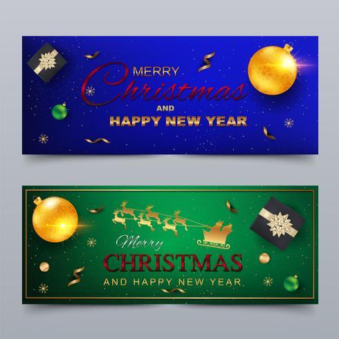 God Jul och Gott Nytt År. Banner, gratulationskortdesign.
