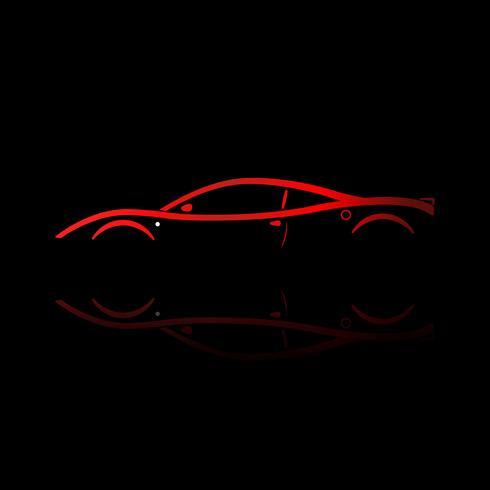 Siluetta rossa dell'automobile sportiva con la riflessione su fondo nero.