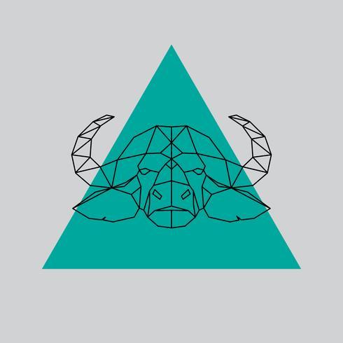 Büffelkopf geometrische Linien Silhouette. vektor