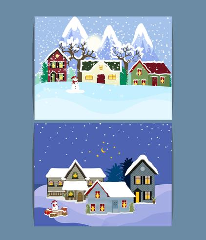 Winter Vacation Landscape Illustrations Set .
