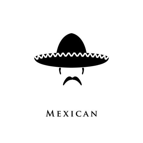 Mexikanischer Hut Sombrero und Schnurrbart. vektor