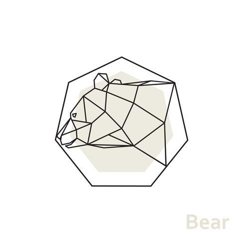 Geometrisk huvudbjörn med sidovy.
