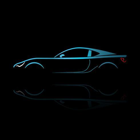 Blaues Sportwagenschattenbild mit Reflexion auf schwarzem Hintergrund.