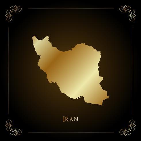 Mapa de oro de Irán. vector