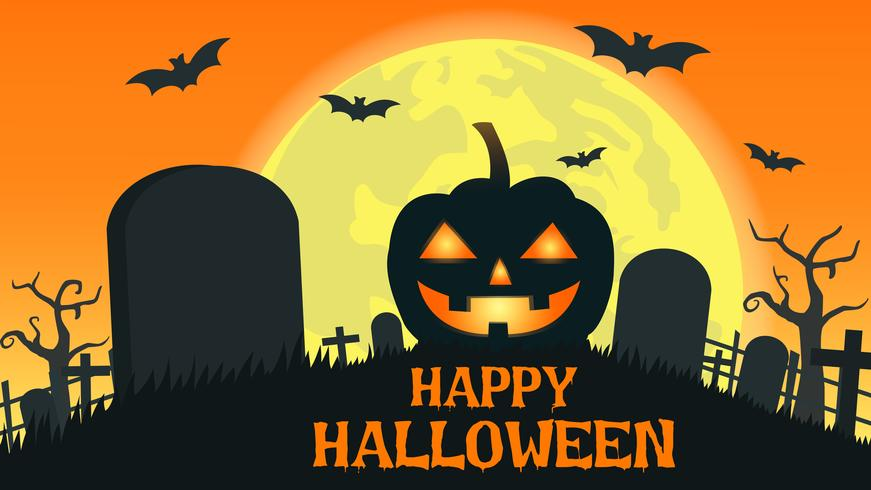 Halloween background with smile pumpkin devil in graveyard and the full moon - Vector illustration
