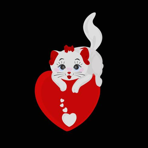 Beautiful Wiled Cat Holding Love with Care Vector Illustration