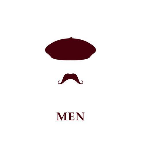 Mode män basker och mustasch ikon i platt stil.