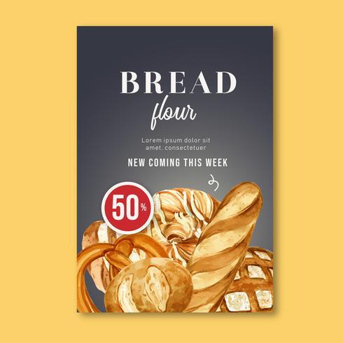Plantilla de cartel de panadería. Recolección de pan y pan. Hecho en casa, diseño de ilustración vectorial acuarela creativa vector