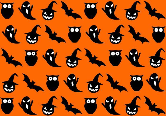 Seamless halloween pattern on orange background - Vector illustration
