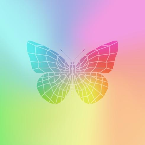 Vector de la mariposa de colores. Banner brillante.