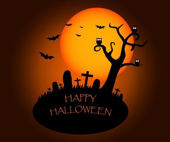 Halloween-achtergrond met silhouetten van kerkhof en de grote maan