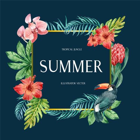 Sommar för tropisk kransvirveldesign med exotiska växter med lövverk, kreativ design för mallar för akvarellvektorillustration vektor