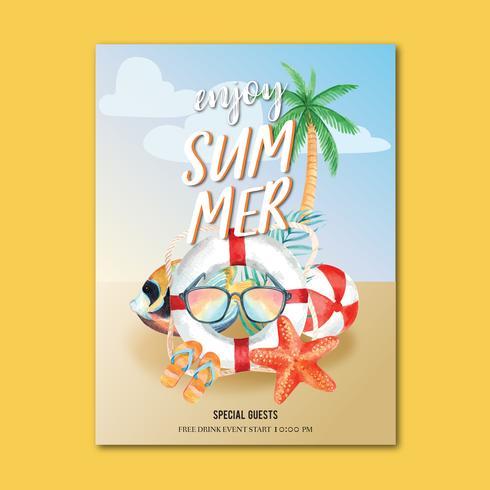Viaje en vacaciones de verano a la playa Palmera cartel de vacaciones, mar y cielo luz solar, acuarela creativa vector ilustración diseño
