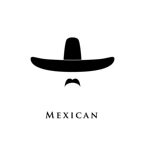 Icona messicana degli uomini isolata su fondo bianco.