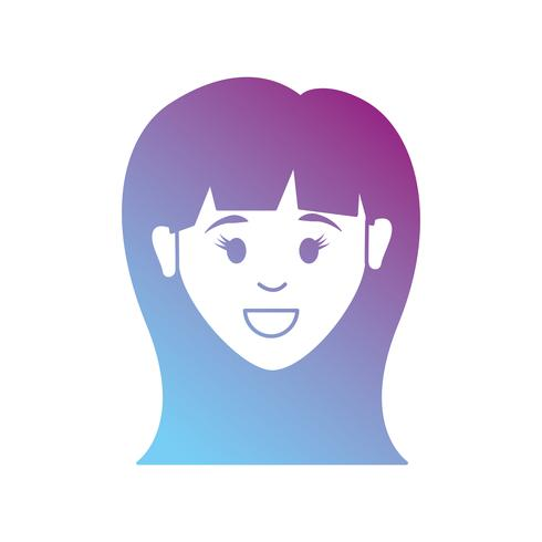 Línea avatar mujer con diseño de peinado.
