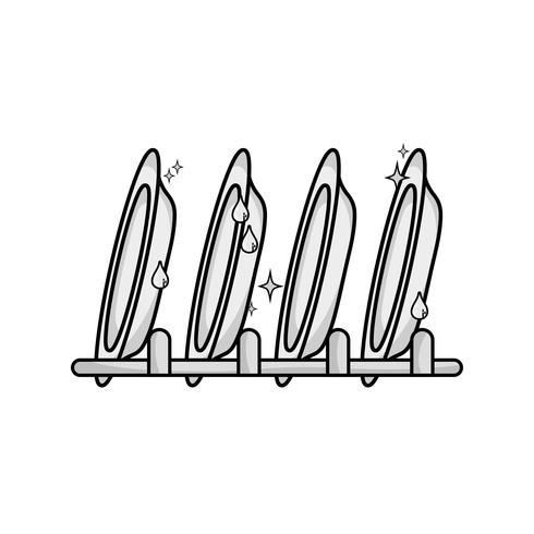 Escala de grises, porcelana, utensilios, limpiador, diseño. vector