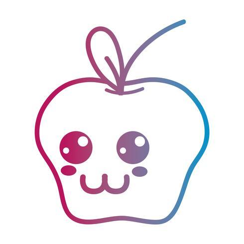 lijn kawaii schattig gelukkig appel fruit