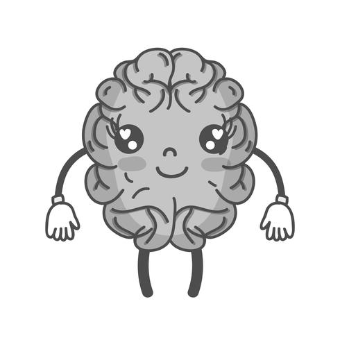 Scala di grigi kawaii carino cervello felice con braccia e gambe