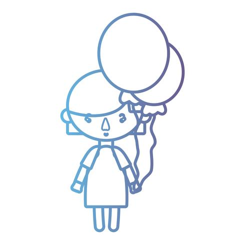 line girl with hairstyle design and balloons
