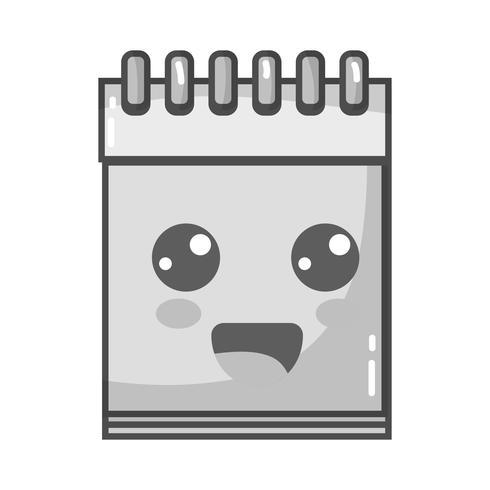 grayscale kawaii cute happy notebook tool