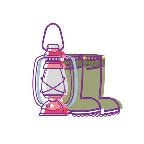 Herramienta de pesca vieja lámpara de mano y botas. vector