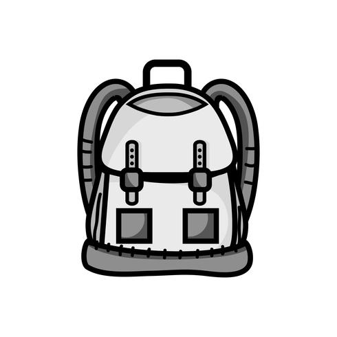 grayscale backpack object with pockets and closures design vector