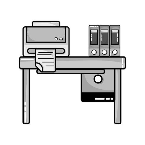 grayscale office wood desk with printer and books